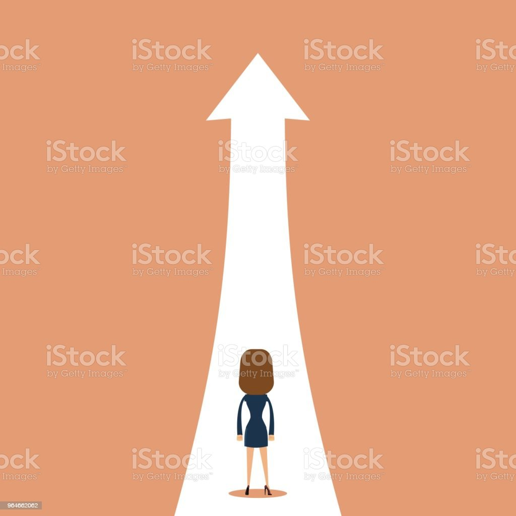 Business growth vector concept with businesswoman on path to higher position royalty-free business growth vector concept with businesswoman on path to higher position stock vector art & more images of achievement