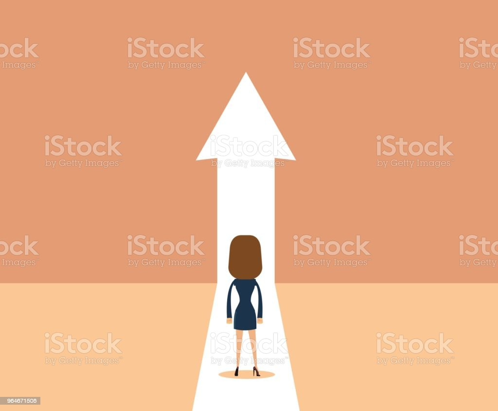 Business growth vector concept with man walking towards upwards arrow royalty-free business growth vector concept with man walking towards upwards arrow stock illustration - download image now