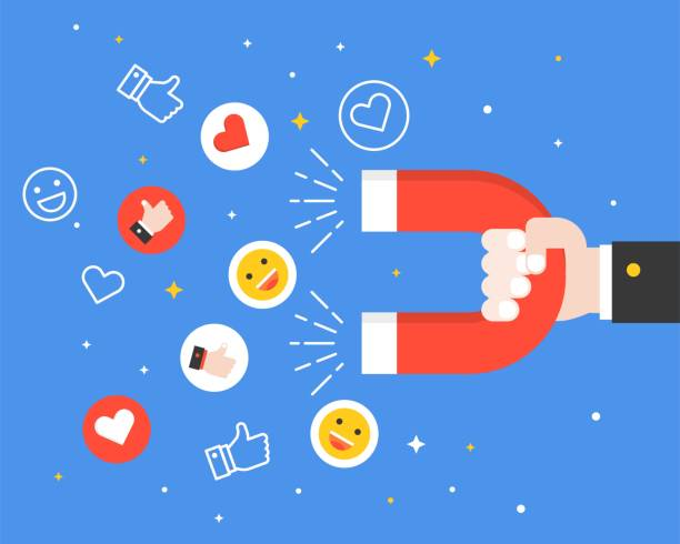 Business hand carrying magnet and smiley faces, like symbol and heart icon, reach engagement in social network, flat design business digital marketing concept – artystyczna grafika wektorowa