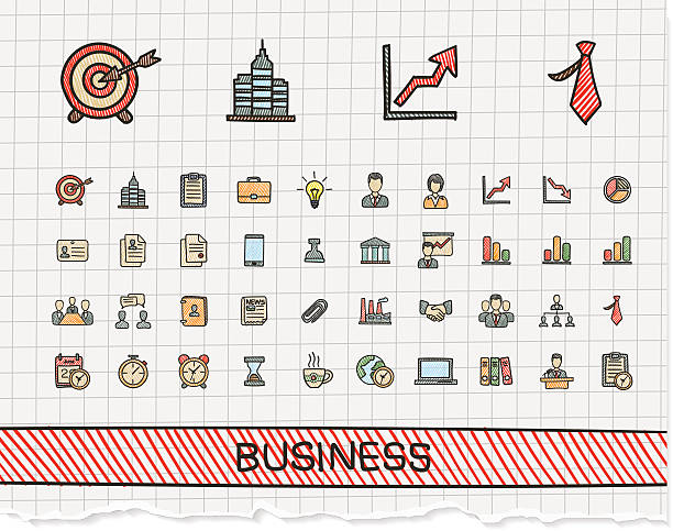 Business hand drawing line icons. Vector doodle pictogram set Business hand drawing line icons. Vector doodle pictogram set: color pen sketch sign illustration on paper with hatch symbol: finance, money, presentation, strategy, marketing, analytics, infographic banking drawings stock illustrations