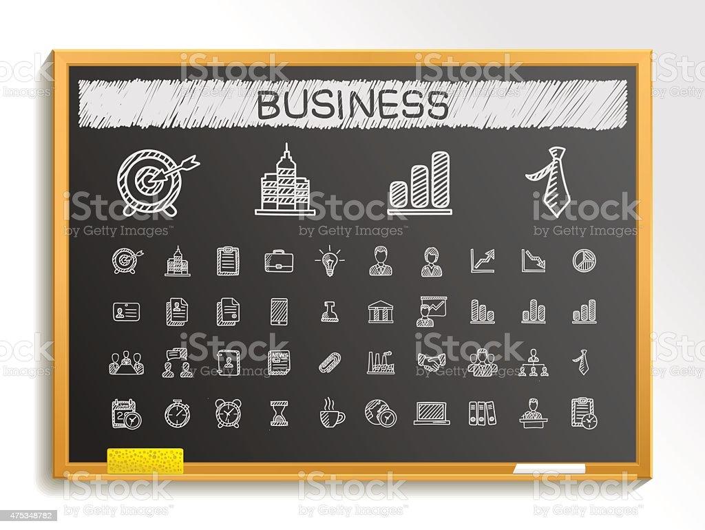 Business hand drawing sketch icons set. Vector doodle blackboard illustration vector art illustration
