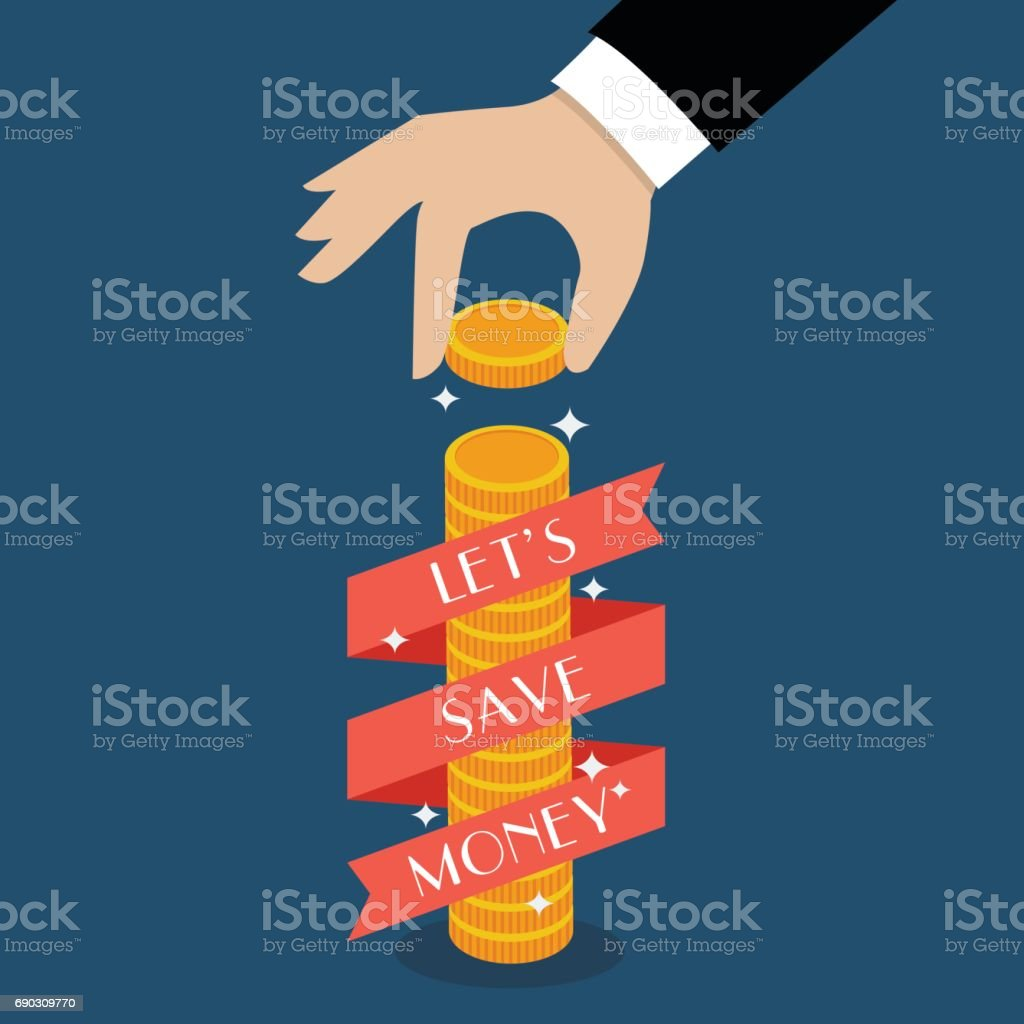 Business hand holding coin with banner vector art illustration