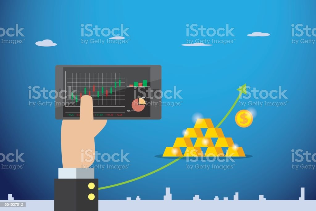 business hand holding mobile phone with candlestick chart and gold bars, stock and business concept royalty-free business hand holding mobile phone with candlestick chart and gold bars stock and business concept stock vector art & more images of adult