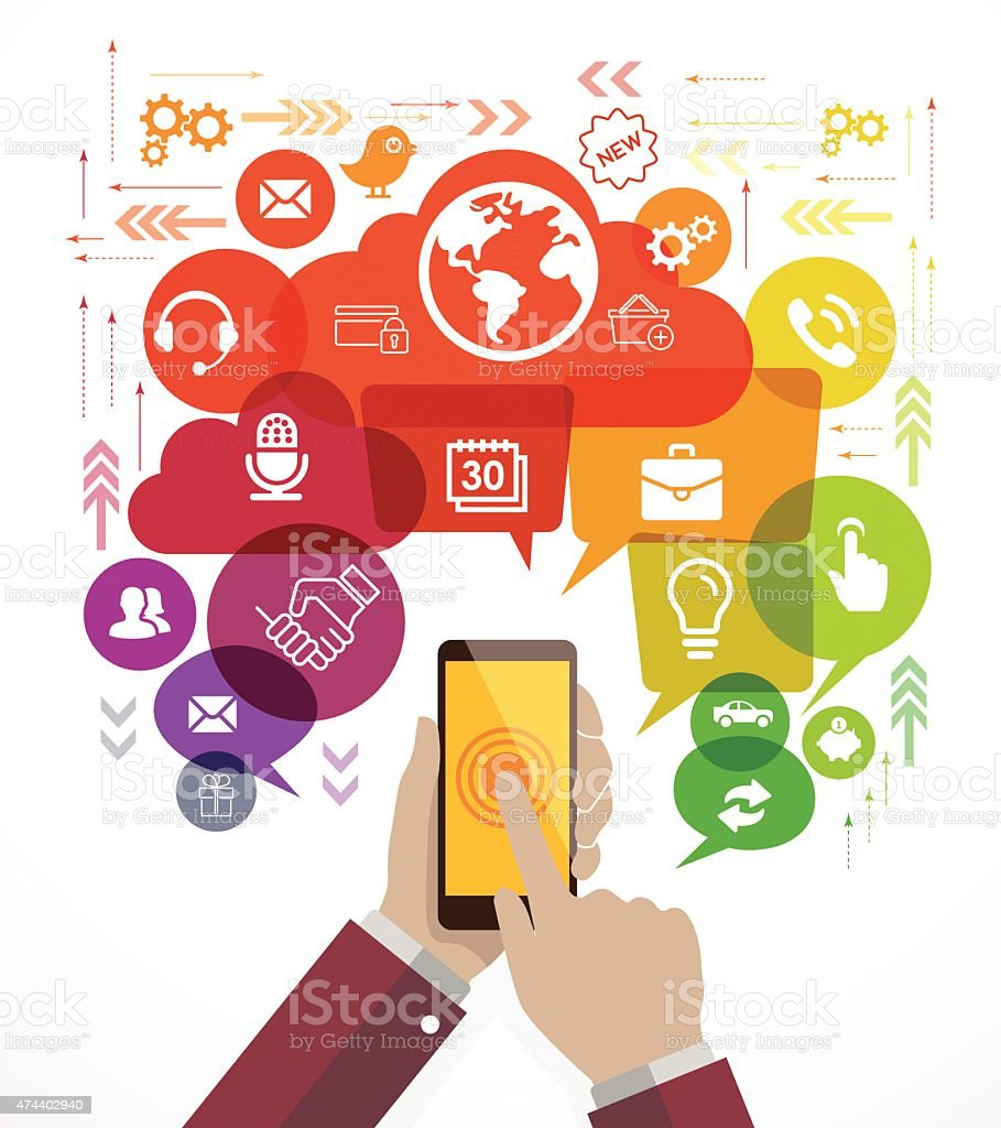Business hand holding mobile phone with icons vector art illustration