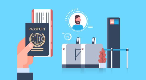 business hand hält pass und tickets zur ebene über check-in-scanner am flughafen mann während der registrierung für abflug-konzept - rezeptionseingang stock-grafiken, -clipart, -cartoons und -symbole