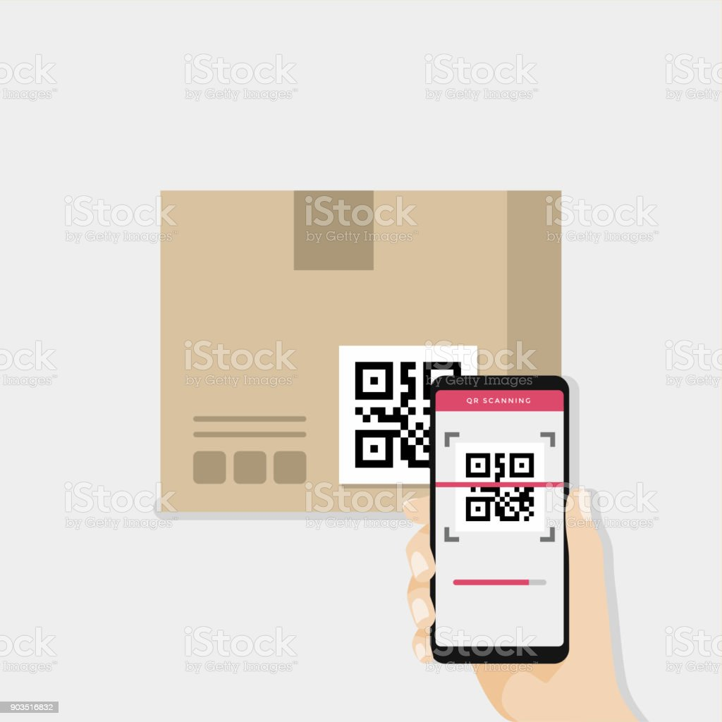 Business Hand Holding Smartphone To Scan Qr Code On Box For Detail ...
