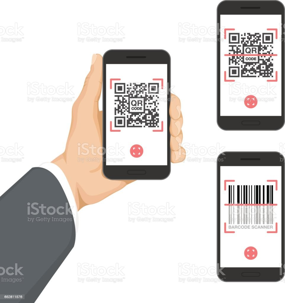 Business Hand Holding Smartphone with QR code and Barcode app vector art illustration