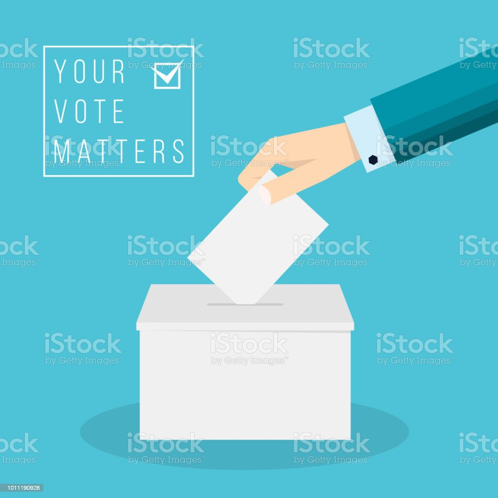 Business hand putting a ballot in a ballot box royalty-free business hand putting a ballot in a ballot box stock illustration - download image now