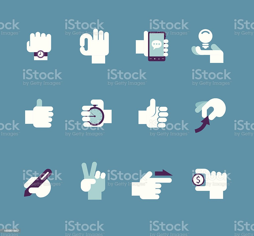 Business Hand set vector art illustration