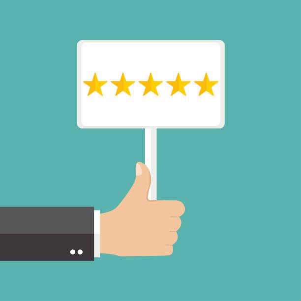 business hand daumen nach oben mit kundenbewertung geben eine fünf-sterne. positives feedback-konzept. - feedback stock-grafiken, -clipart, -cartoons und -symbole