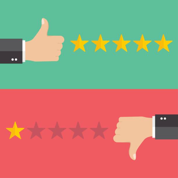 business hand daumen nach oben mit wahren und falschen zeichen. vektordarstellung von positivem und negativem feedback-konzept. - feedback stock-grafiken, -clipart, -cartoons und -symbole
