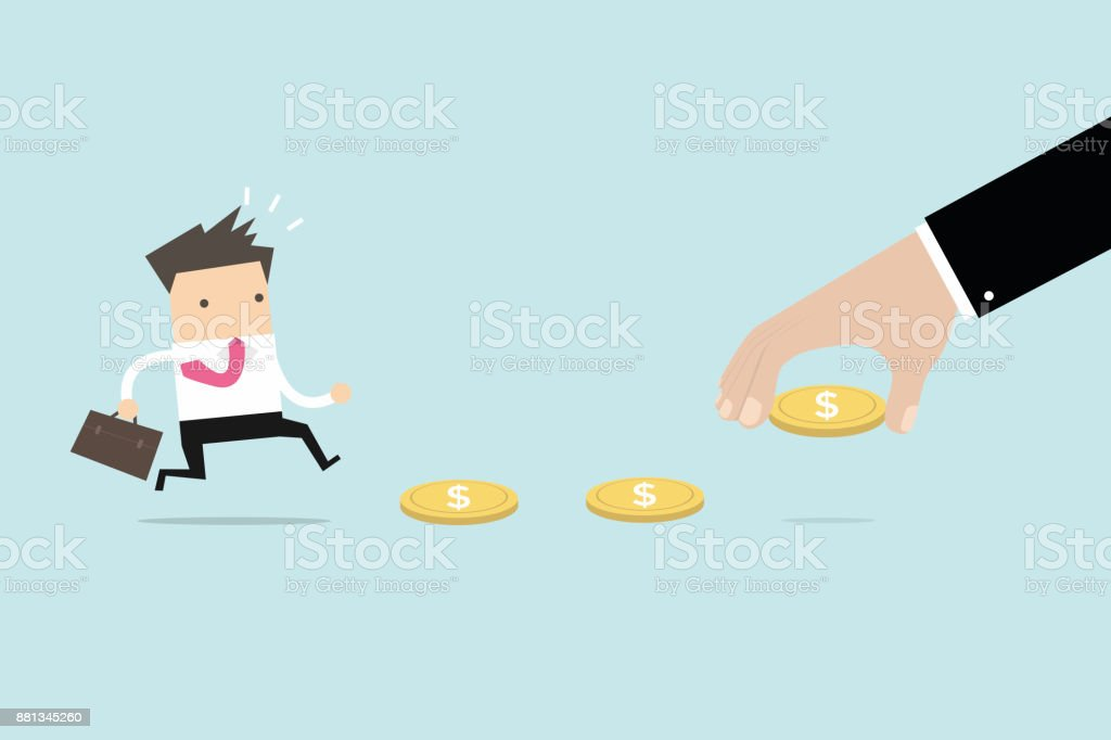 Business hand use money to entice businessman, bait or financial trap. vector vector art illustration