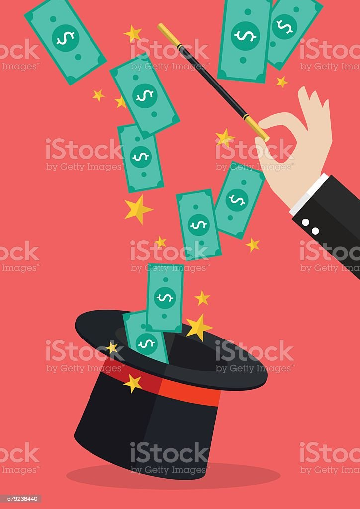 Business hand with money flying out of the magic hat - Royalty-free Achievement stock vector