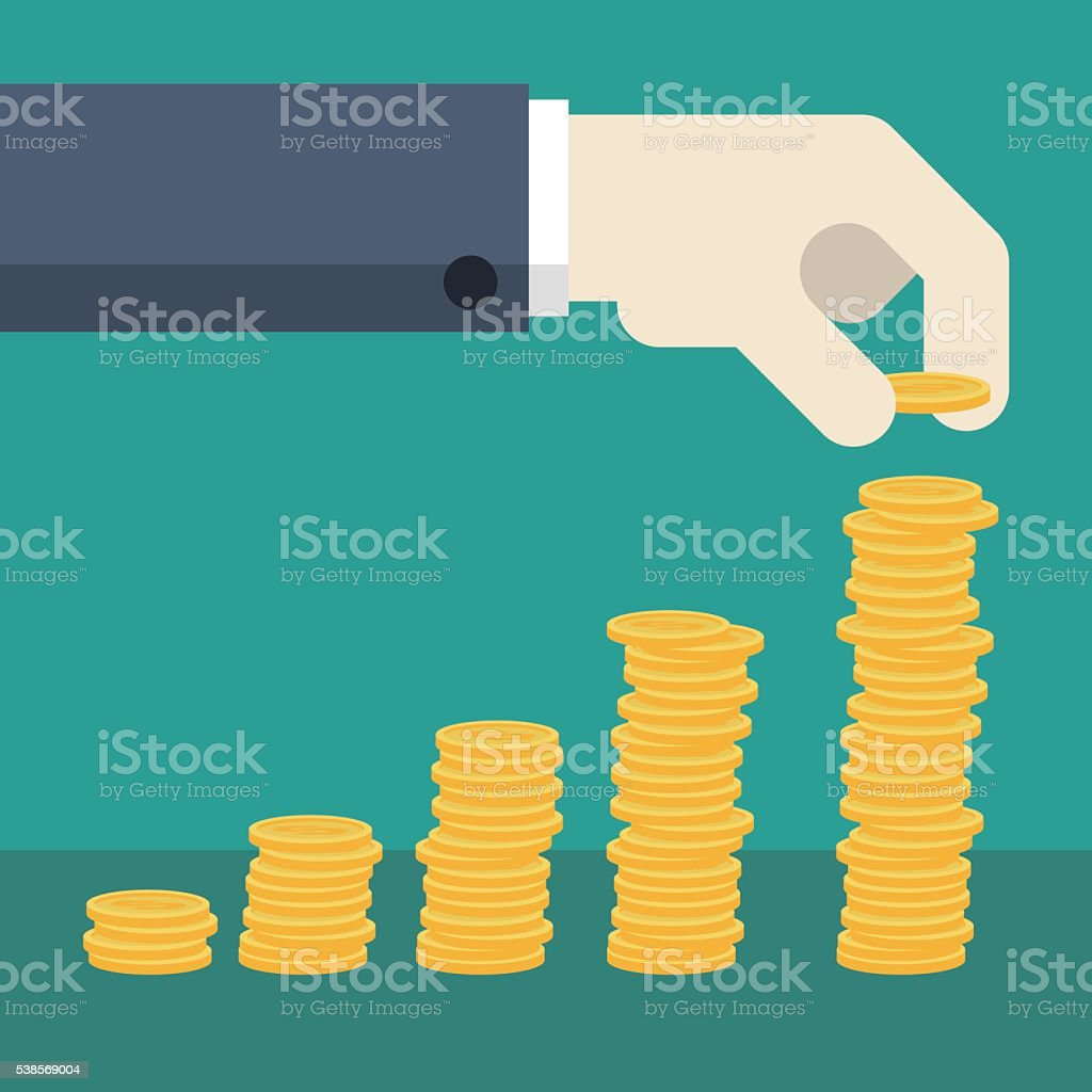 Business Hand with stack of coins vector art illustration