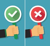 Business hand with true and false sign. Vector illustration