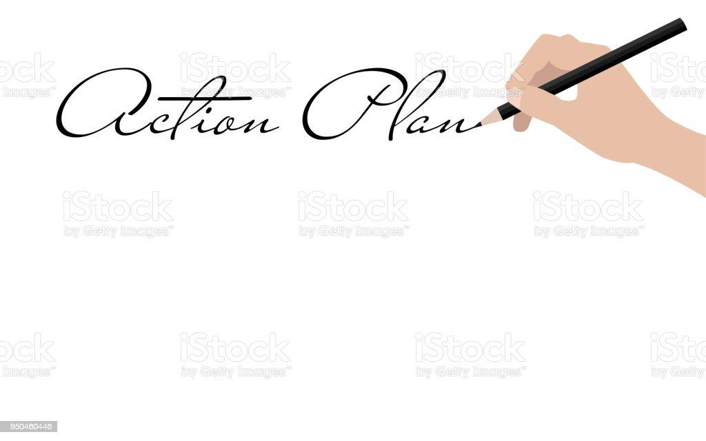 Business hand writing action plan vector art illustration