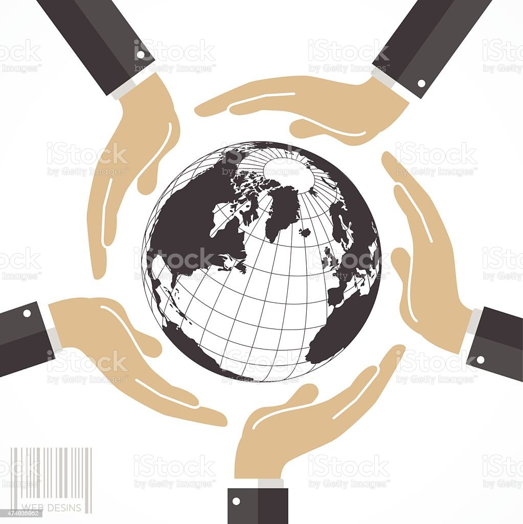 Business hands around the world map globe stock vector art more business hands around the world map globe royalty free business hands around the world map gumiabroncs Image collections