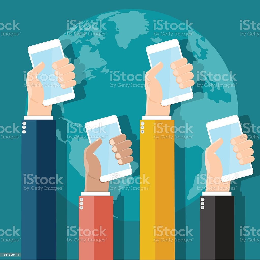 Business hands holding phones with world background. vector art illustration