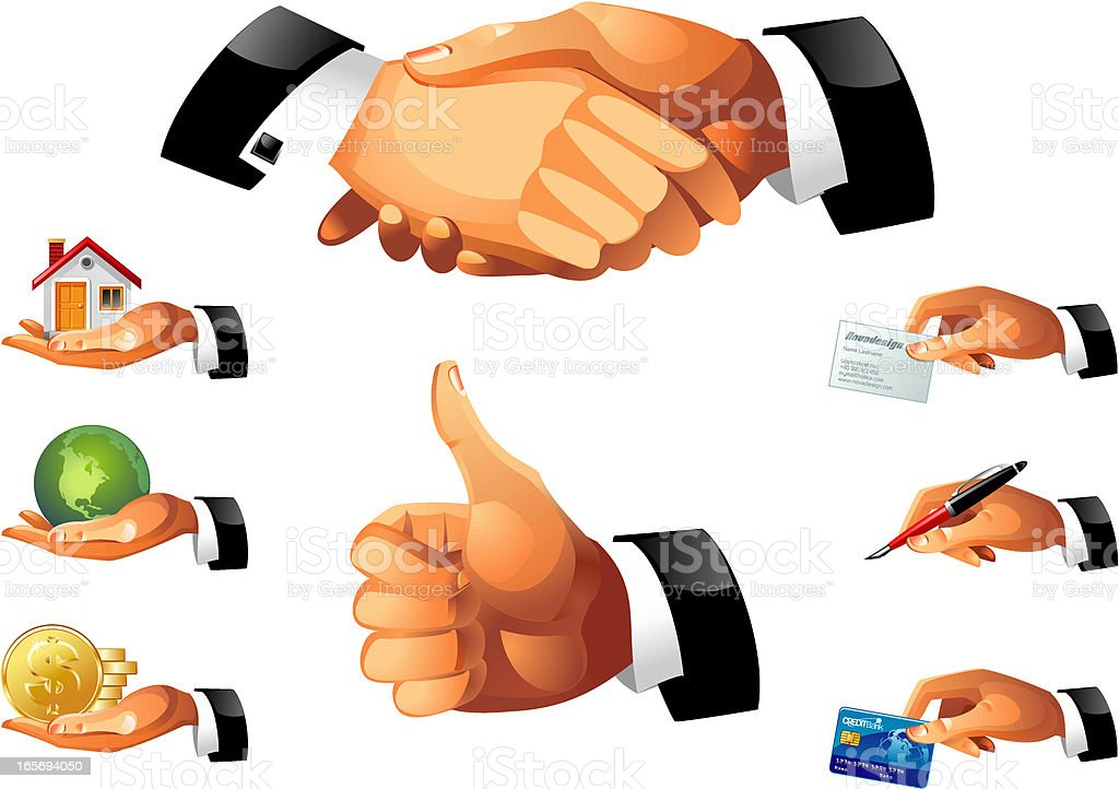 business hands icon set royalty-free stock vector art