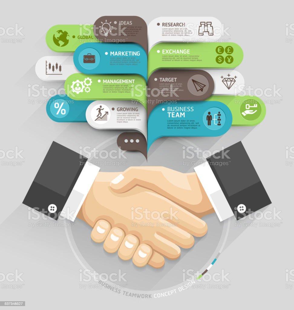 Business handshake und Blase Rede Vorlage Stil. – Vektorgrafik