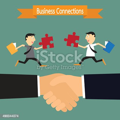 Business handshake and businessman connection partners, connecting puzzle elements concept. vector illustration.