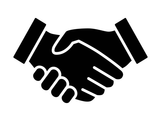 Business handshake / contract agreement flat icon for apps and websites Handshake icon shaking stock illustrations
