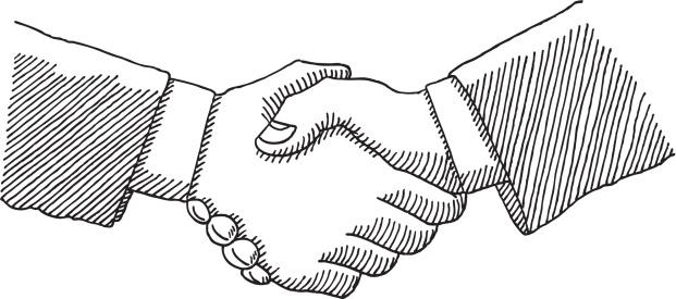 Business Handshake Drawing