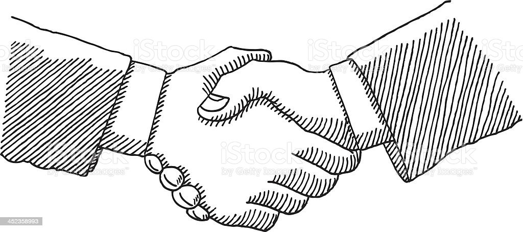 Business Handshake Drawing vector art illustration