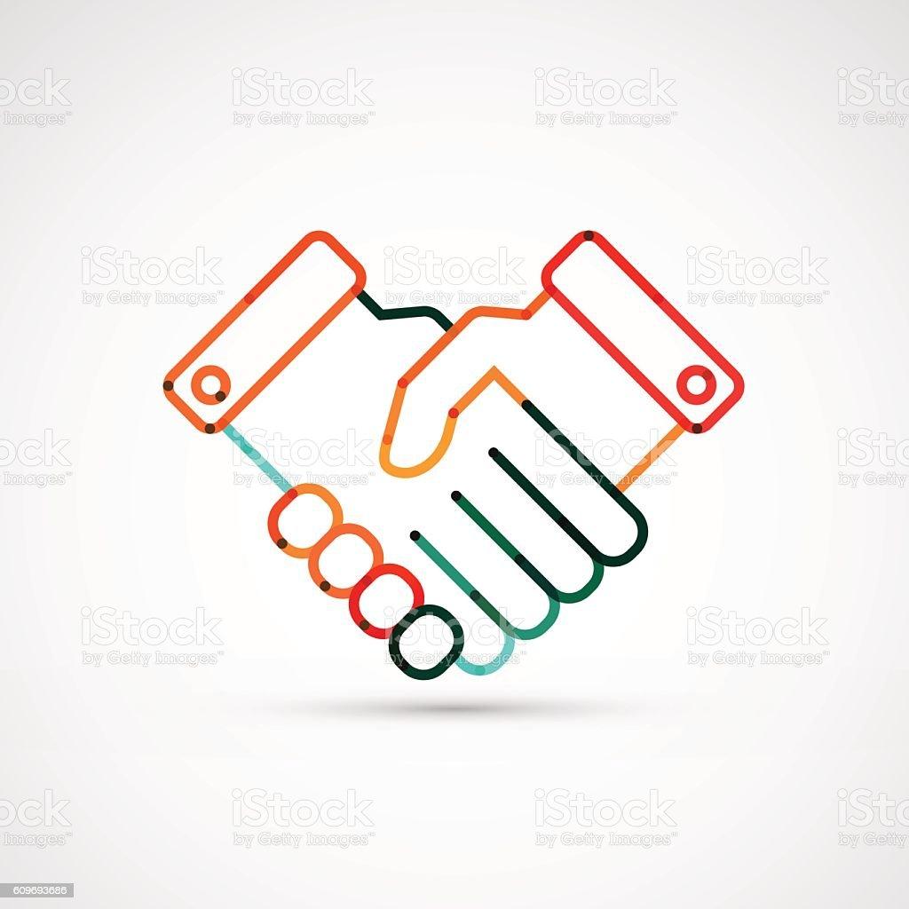 Business handshake icon. Line style vector illustration – Vektorgrafik