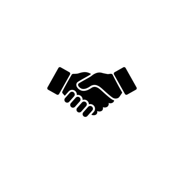 stockillustraties, clipart, cartoons en iconen met business handshake icoon. vector illustratie - shaking hands