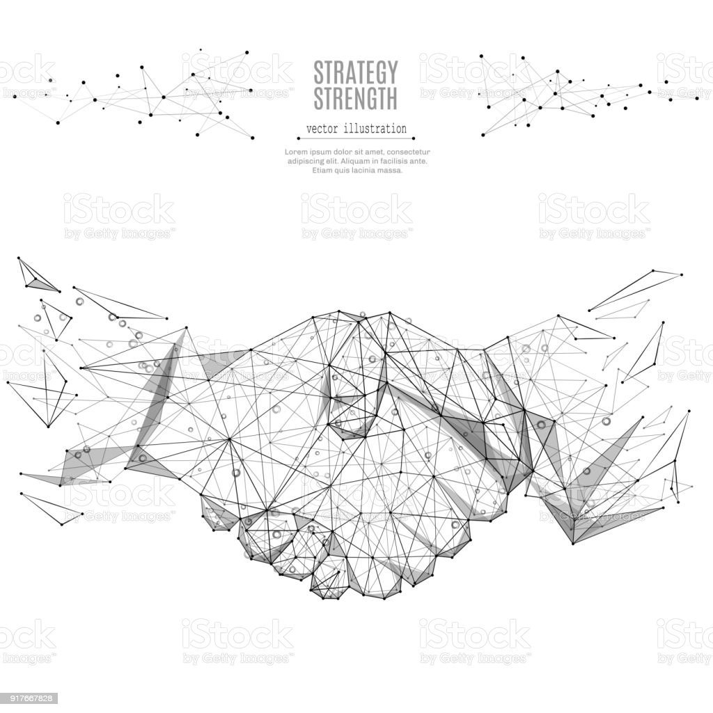 Business handshake low poly black on white