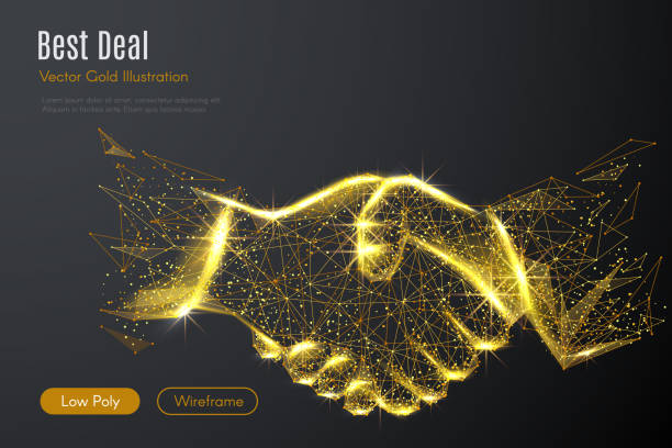 Business handshake LOW POLY gold Low poly illustration of the Business handshake with a golden dust effect. Sparkle stardust. Glittering vector with gold particles on dark background. Polygonal wireframe from dots and lines. dealing cards stock illustrations