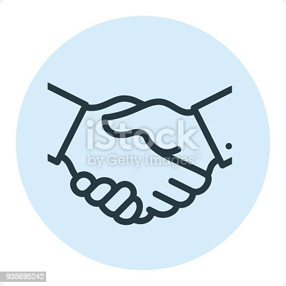 Handshake - Professional outline style vector icon. Pixel Perfect Principle - icon designed in 64x64 pixel grid, outline stroke 2 px. Blue circle 80x80 px.  Complete Outline PRO icon board - https://www.istockphoto.com/collaboration/boards/r3MrrRaQskC97xh5LR9hsg