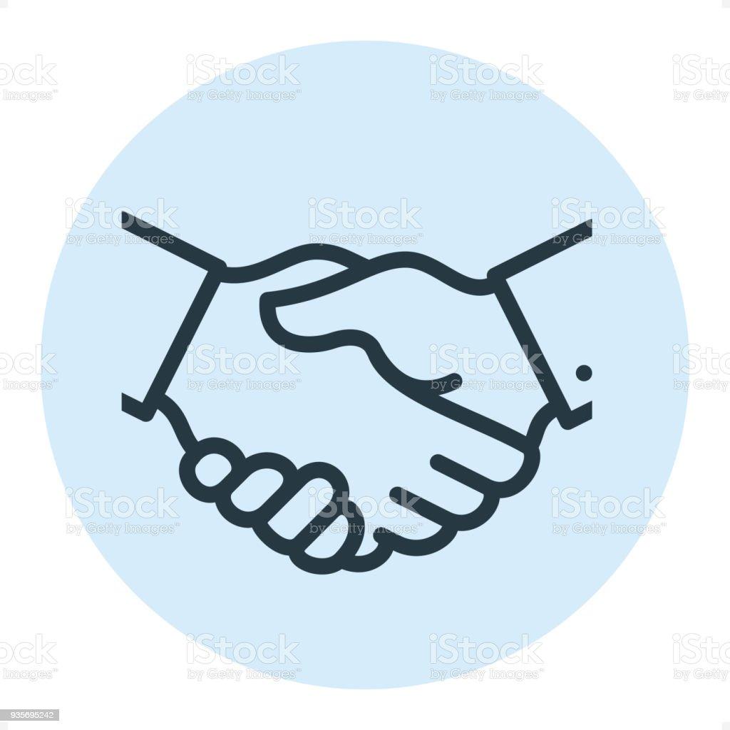 Business Handshake - Pixel Perfect Single Line Icon vector art illustration