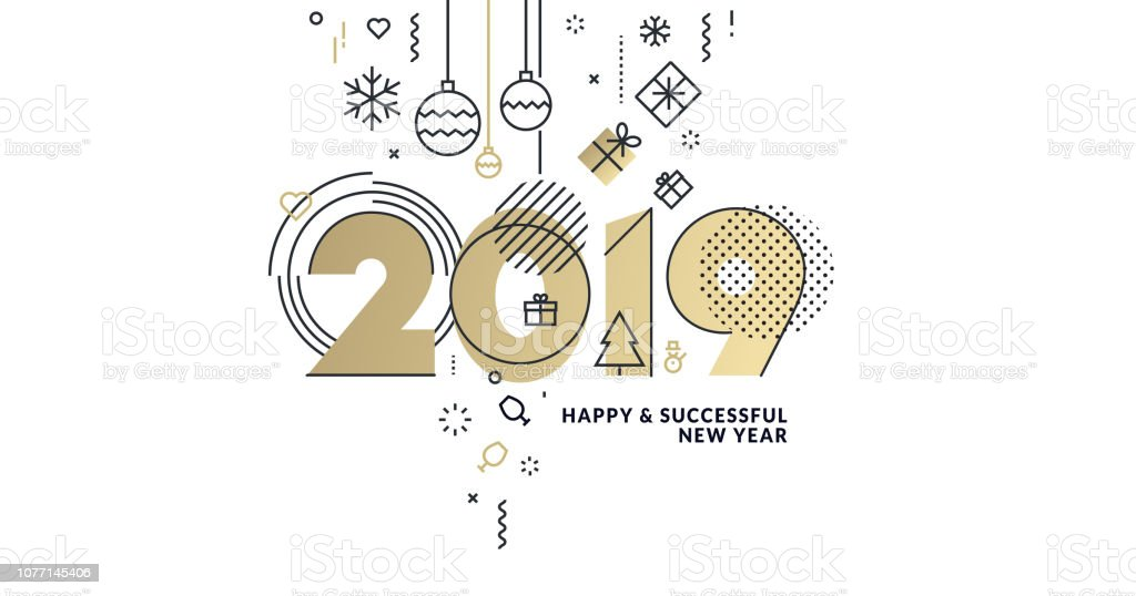 Happy New Year-2019 Gruß Visitenkarte – Vektorgrafik