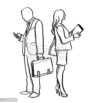 Business man and business woman standing back to back.  She is holding a bood and he is looking at his cellphone