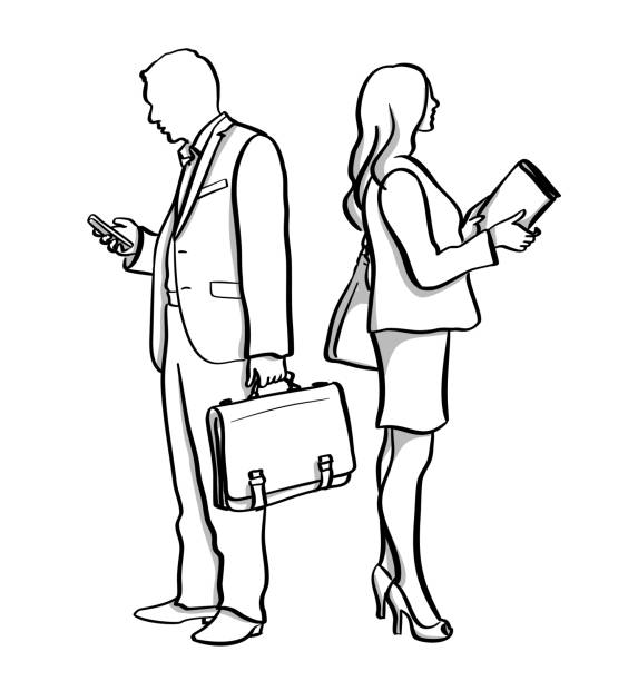 Business He And She vector art illustration
