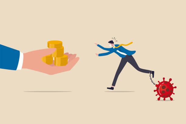 ビジネスヘルプ、covid-19コロナウイルス金融危機コンセプトの政府経済刺激策、ウイルス病原体を持つ保護マスクチェーンを持つビジネスマンは、手を助けることからお金を得るために実行� - 投資家点のイラスト素材/クリップアート素材/マンガ素材/アイコン素材