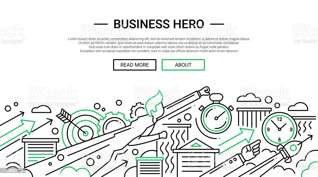Business Hero - line design website banner temlate vector art illustration