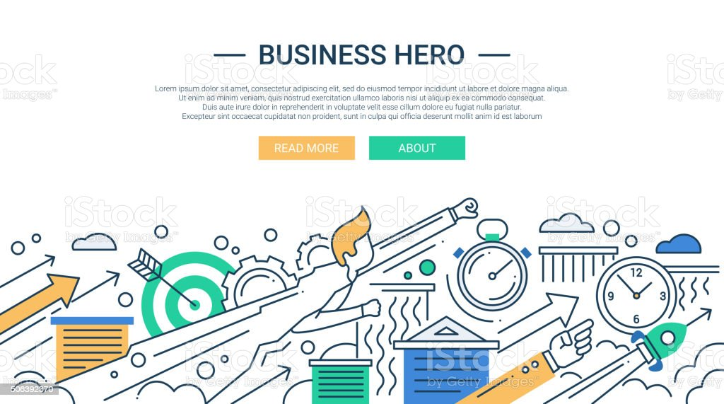 Business hero line flat design banner with superhero businessman. vector art illustration
