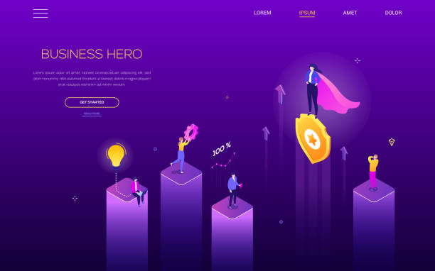 Business hero - modern isometric vector web banner vector art illustration