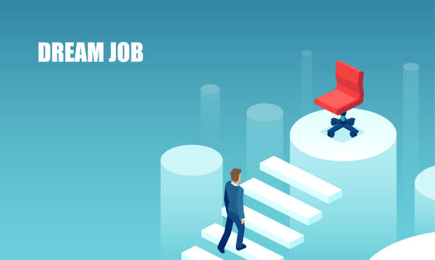 Business hiring and recruiting concept. Vector of a businessman climbing up career ladder towards his dream job Business hiring and recruiting concept. Vector of a businessman climbing up career ladder towards his dream job vacancy stock illustrations