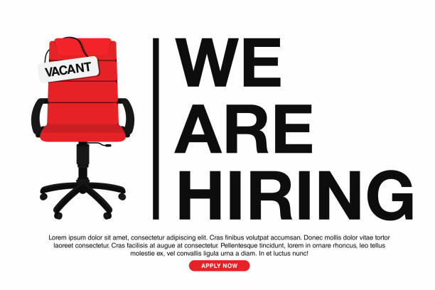 Business hiring and recruiting concept. We are hiring, banner concept, vacant position. Empty office chair with vacant sign isolated on white background Business hiring and recruiting concept. We are hiring, banner concept, vacant position. Empty office chair with vacant sign isolated on white background. Vector military recruit stock illustrations
