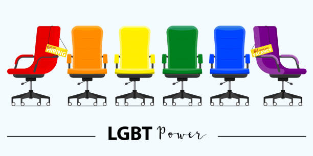 Business hiring and recruiting in LGBT power concept. Office chair or desk chair in various points of view. Office chair and a sign vacancy. Furniture for Interior in flat design. Business hiring and recruiting in LGBT power concept. Office chair or desk chair in various points of view. Office chair and a sign vacancy. Furniture for Interior in flat design. Vector illustration. military recruit stock illustrations