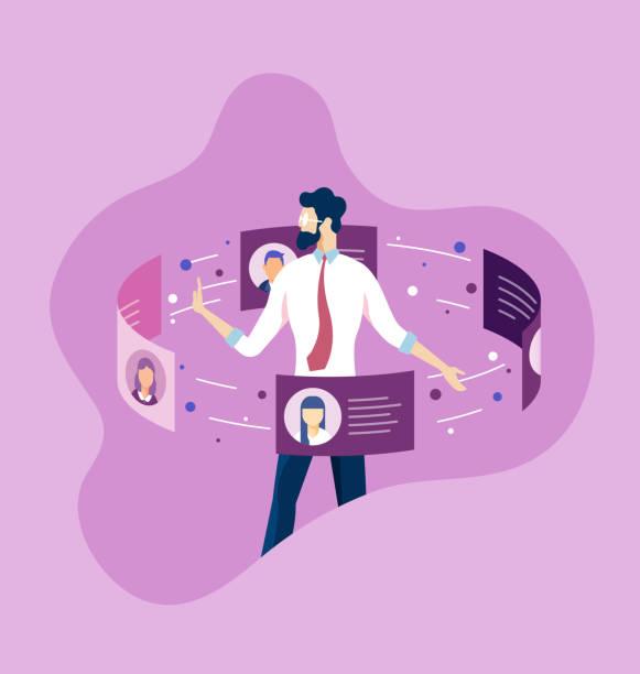 koncepcja business hr. menedżer zasobów ludzkich zatrudniający pracownika do pracy - umiejętność stock illustrations