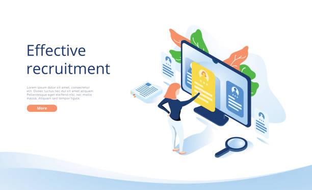 Business HR Konzept in isometrischer Vektorillustration. Personalleiter, der Mitarbeiter oder Arbeitskräfte für den Job einstellt. – Vektorgrafik