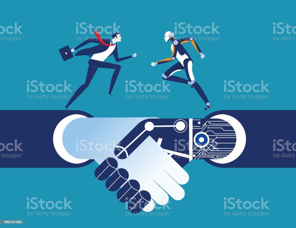 Företag människa och robot. Konceptet business artificiell intelligens illustration. Vektor-teknik. - Royaltyfri Artificiell vektorgrafik