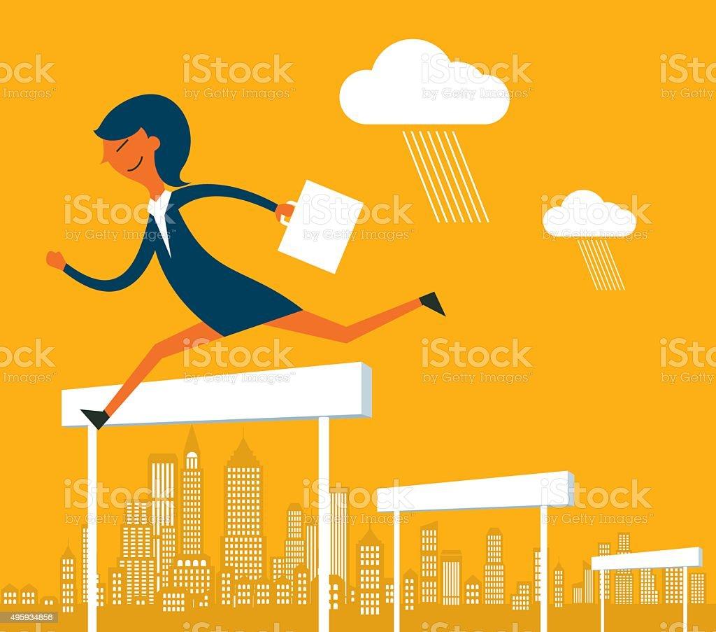 Business hurdler vector art illustration