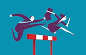 Vector illustration - Business hurdle raceVector illustration - Business hurdler