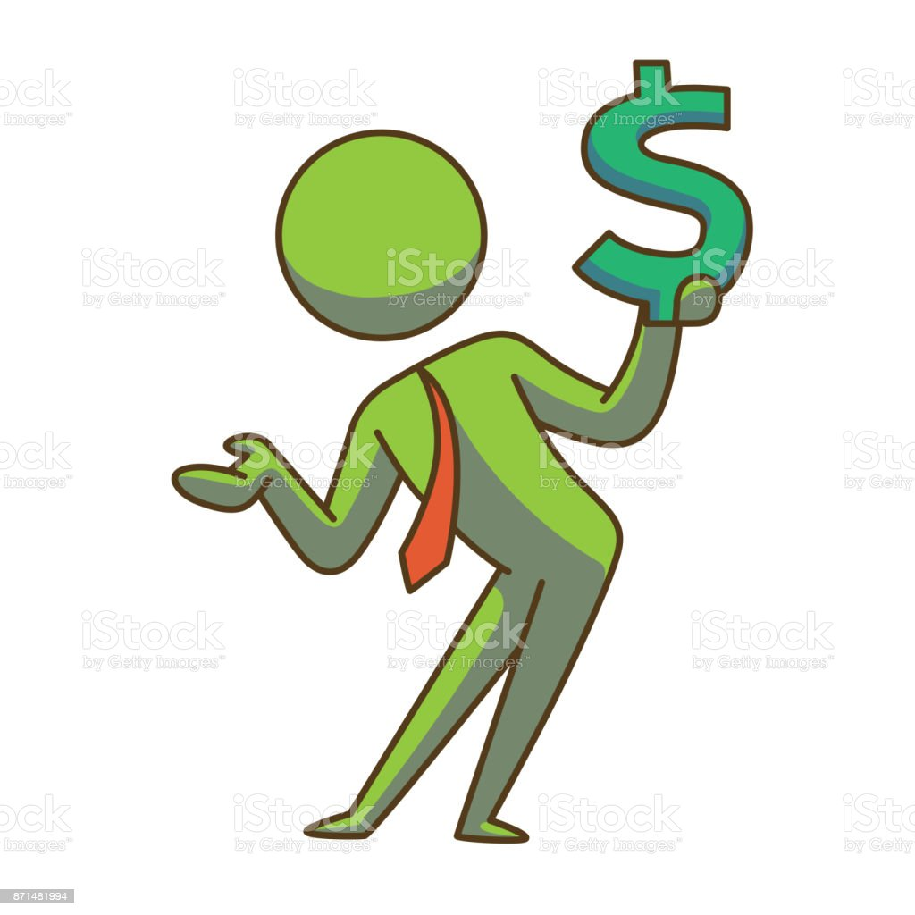 Business Icon Businessman With A Dollar Sign Color Image